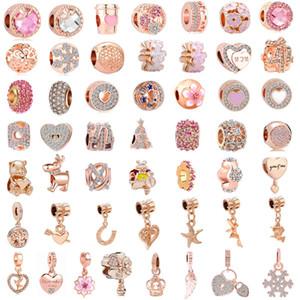 libre expédition 50pcs / lot (chacun pour un) charme mixte européen en or rose rose perle charmes ajustement pandora bracelet pour les femmes bijoux diy M002