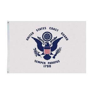 Garde côtière Drapeau américain, 150x90cm Bannière publicitaire Hanging, 100% polyester simple impression latérale avec 90% Bleed On dirait bien
