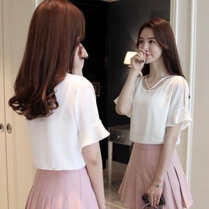 blusas mujer de moda 2019 primavera nuova versione coreana manica in corno allentato temperamento femminile top in chiffon dolce Super Fairy 1881 50