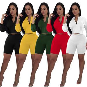 Frauen zwei Stücke Sets Crop Tops und Shorts mit V-Ausschnitt Drei Viertel Sleeve Sexy Zipper Sportlich entspricht Trainingsanzügen Outfits