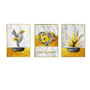 Living room decoration painting modern contracted sofa background wall painting hotel hallway porch hanging painting golden picture frame