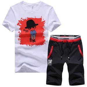 Pop2019 Summer Man Short T La camiseta. Cool Time Motion Suit Pattern Handsome A Set Ropa de manga media Primavera