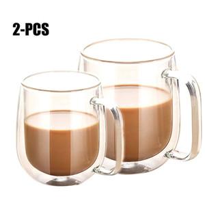 2 unids Paredes Amantes Parejas resistentes al Calor Tazas de Café Breve Vaso con Aislamiento Leche Tazas de Té Bebidas Tazas de Cristal Para el Hogar Familia T8190627