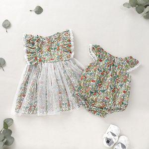 Vieeoease Girls Dress Floral Kids Dress 2019 여름 패션 슬리브 프릴 인쇄 레이스 공주님 드레스 CC-484