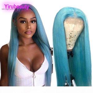 Pérou Cheveux 13x4 Lace Front perruque droite Bleu clair Jaune Rouge Lace Front Wigs Silky droite 12-26inch 13 par 4 avant de dentelle perruque grise