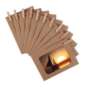 10X Retro-Papier-Foto-Wand-Kunst Bild DIY Hanging Album Frame Picture Display + Seil Clips Wand Home Decor
