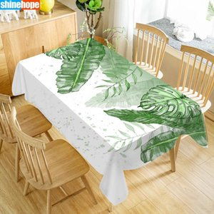 Custom Table Cloth Palm leaves Tablecloths Oxford Print Rectangular Waterproof Oilproof Wedding Table Cover