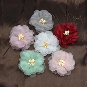 50pcs cabeza de flor artificial de gasa hecha a mano flores de tela de bricolaje para el banquete de boda artesanía hogar decoración de bricolaje