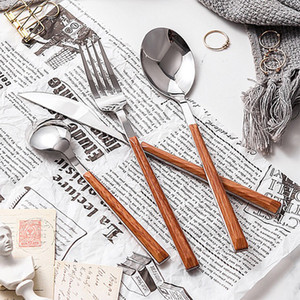 Ahşap sap paslanmaz çelik bıçak ve çatal kaşık Batı gıda bıçak ve çatal kaşıkları hediye Sofra T2I5918