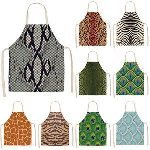 1pcs Leopar Pişirme Bel Önlüğü Pamuk Keten Pinafore Temizleme Araçları 53 * 65cm A1041 Pişirme Kadınlar Erkekler Home için Mutfak Önlükler yazdır