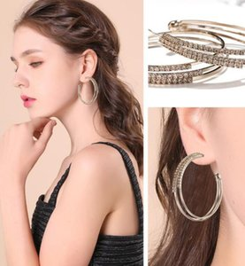 SexeMara Big Crystal Hoop Earrings Large Classic Rhinestone Circle Earring For Women Party Round Trendy Brincos