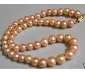 9-10mm Natural South Seas Gold Pink Pearl Necklace 20inch 14k Gold Clasp