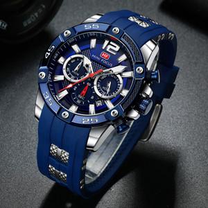 Correa de silicona MINIFOCUS hombres relojes multifunción azul reloj del deporte impermeable reloj del cuarzo del hombre Reloj Hombre
