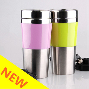 Stainless Steel Car Electric Cup Portable Travel Electric Kettle Coffee Tea Water Heater Auto Home with Lid Pink Yellow HHA212