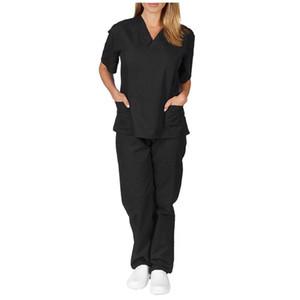 Unissex roupas de trabalho de Enfermagem Fardas Scrubs Roupa Moda Manga Curta Tops V-Neck Shirt Calças Mão Vestuário # T2G