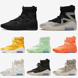 2020 Страх Божий 1 Mens конструктора Баскетбол обувь размер 12 Triple Black Строка Вопрос Роскошные тренеры Овсяная Sail Оранжевый кроссовки