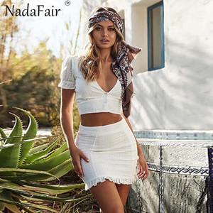 Ahueca hacia fuera el vestido de las mujeres del verano Wholesale-Nadafair blanca con cuello en V de encaje Casual Volantes Dos jugadas Vestidos