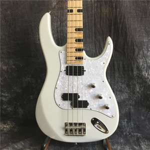 Manufacturer custom 4 string bass white milk - electric guitar with pearl white guard, can be made on request, free shipping