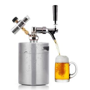 En plein air 1.8L / 64 oz Pressurized Mini en acier inoxydable Mini bière Keg Kit extérieur portable Keg Distributeur de pique-nique Camping