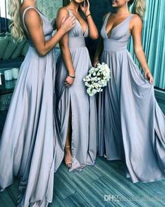 Sexy V-образным вырезом плюс размер платья невесты Длинные Backless High Side Split Длина пола Складки драпированные свадебное платье для гостей горничной честь Gowns