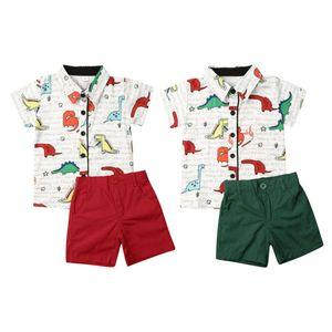 Лето Cute динозавр малышей Мальчика официально костюм Рубашка Шорты Брюки Outfit Set Cartoon Джентльмен Одежда
