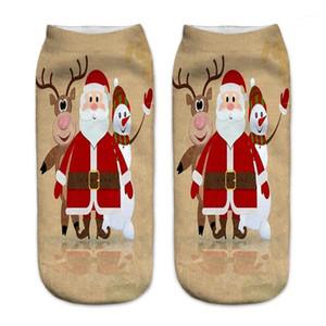 Тапочки Донна Повседневная Чулочно-Носочные Изделия С Рождеством Печати Женские Носки Мода Санта-Клаус Милу Олень Печати Носок