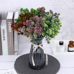 7 Garfo 28 Cabeça Suculenta Folhas de Outono Artificiais Guanyin Grama De Lótus DIY Decoração de Casamento Planta Flor Falsa Plantas Artificiais
