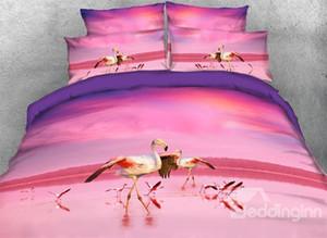 3D Tropical Flamingolar Baskılı 4 Parça Pembe Nevresim Takımları / Nevresim Takımı