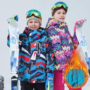 Kids Ski Jacket Winter Waterproof Children Thicken Warm Fleece Outerwear Snow Coat Boys Girls Sport Snowboard Skiing Jacket