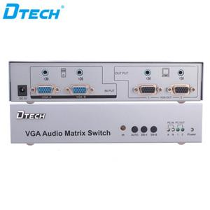 Spedizione gratuita Plug and play telecomando IR HD 350MHZ 2 ingressi 2 uscite VGA interruttore 1920 * 1440 matrice audio