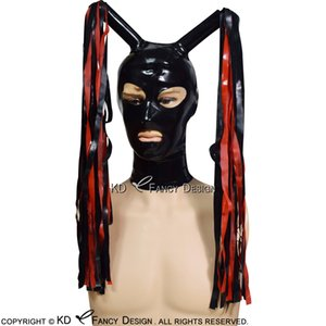 Latex Hood With Latex Pigtail Zipper At Back Open Eyes Mouth Nostril Rubber Mask Plus Size TT-0178