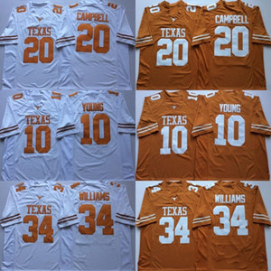 NCAA Vintage Texas Longhorns College Fußball Trikots Günstige 10 Vince Young 34 Ricky Williams 20 Earl Campbell University Fußball Trikots M-X
