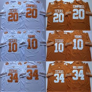 NCAA Vintage Texas Longhorns Футбольные майки колледжа Дешевые 10 Винс Янг 34 Рикки Уильямс 20 Earl Campbell University Футбольные майки M-X