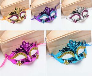Mens Woman Mask Halloween Masquerade Masks Mardi Gras Venetian Dance Party Face gold shining plated Mask free ship