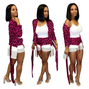 Women Leopard 2 piece set summer fall clothes sexy club Cardigan shorts sportswear sweatshirt leggings outfits outerwear coat bodysuits 0186