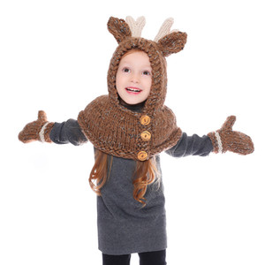 Baby girls Winter wool cap golves Christmas Elk Hat Scarf Kids Cartoon Deer Knitted caps Warmer Elk Hooded Scarf 2 in 1 LJJA2809