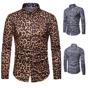 Os machos roupa Digital da cópia do leopardo dos homens do desenhista Shirts Moda leopardo Único Breasted Mens Shirts lapela Casual Pescoço