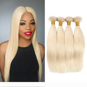 Peruvian Straight Colored Human Hair 4 Bundles Wholesale #613 Bleach Blonde Hair Peruvian Malaysian Brazilian Remy Human Hair Extensions