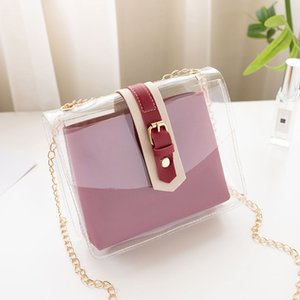 2020 new Korean version of the shoulder bag women's casual fashion solid color transparent mother and daughter diagonal bag