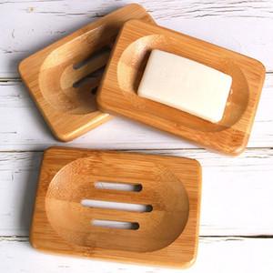 Natürliche Bambus Holz Seifenschale Lagerung Inhaber Bad Runde Drain Soap Box rechteckigen Platz umweltfreundliche hölzerne Seifenschale Halter BH2287 ZX
