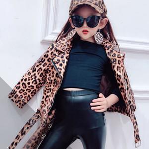 İlkbahar Sonbahar kızlar PU ceket bebek ceket Çocuklar çocuk streetwear giysileri yapay deri leopar dış giyim wasitband 2 yıl 7 snap