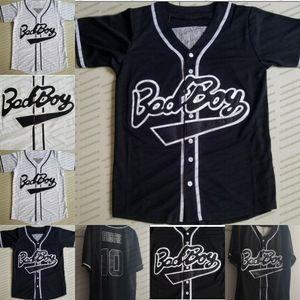 suéteres de películas Mens chicos malos Nº 10 de béisbol negro Jersey con capucha blanca directa Enviar hiphop del jersey de béisbol 100% Todo cosido