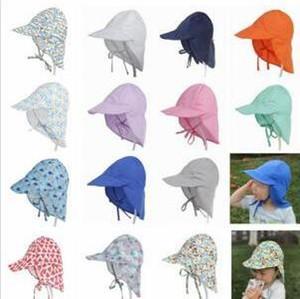 Bebé sombreros de Sun infantil INS Impreso Pescador sombrero del verano del niño Anti-UV Beach Caps recién nacido recorrido al aire libre cabritos de los sombreros de cuello Protección Cap C208