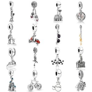 NEW 2019 100% 925 Sterling Silver pandora Racing Finish Line Motorcycle Glasses Castle Pendant Fit DIY Original Women Bracelet Jewelry