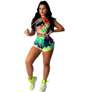 Women Sport Two Piece Set Tie Dye Up Blouses Tops Shorts Jogger Sweatpants Suit Tracksuit Matching Set Outfits