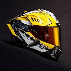 Adam Binme Araba motokros yarış motosiklet kask-DEĞİL-ORİJİNAL-kask vizör Tam Yüz X14 altın YAMAHAa Motosiklet Kaskı buğu önleyici