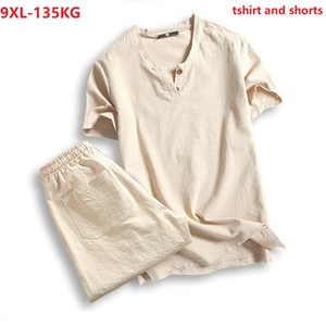 plus size 5XL 7XL 8XL 9XL t-shirt men summer tees short sleeve and shorts vintage japan style V-neck cotton tshirt black 130KG
