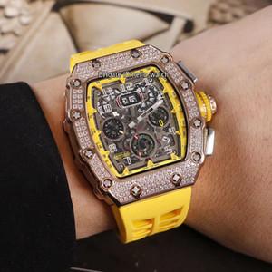 Nueva RM11-03 de oro rosa caja del diamante 11-03 Big Date esqueleto del reloj para hombre amarillo interior Flyback Chrono Automatic amarillo correa de caucho Hello_Watch