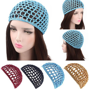 2020 New Women's Mesh Hair Net Crochet Cap Solid Color Snood Sleeping Night Cover Turban Hat Popular Casual Beanie Chemo Hats