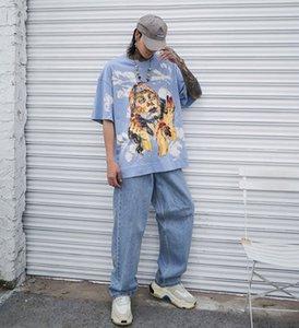 stokta Mavi Siyah HipHop tişört tişört Renkler 2020ss Erkekler Tişörtlü Kalça Hop Streetwear Tshirts Yaz Kısa Kollu Pamuk boy art ins